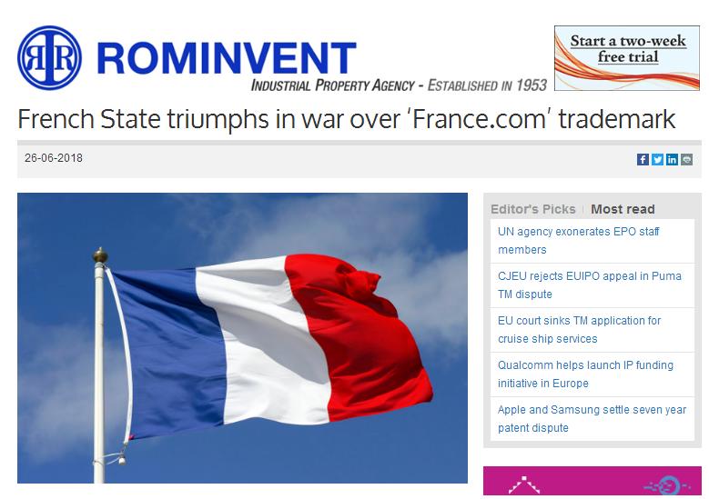 """France.com域名、商标都想要 法国政府""""耍流氓""""?"""