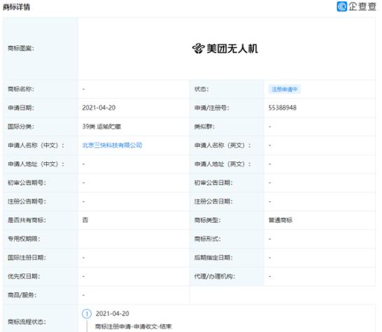 """北京三快科技有限公司申請注冊""""美團無人機""""商標"""